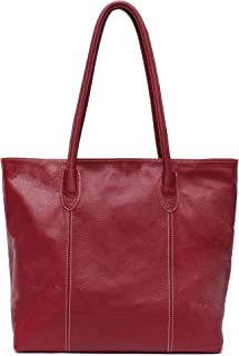 Genuine Cow Leather Women Tote Bag STEPHIECATH Brand Large Classic Soft Real Leather Skin Shoulder Handbag(RED)