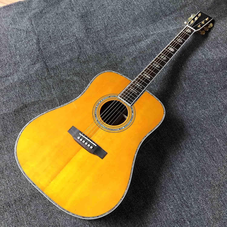 YYYSHOPP Guitarra Spruce sólido Top Pintado Amarillo de 41 Pulgadas Cuerpo acústico Guitarra Popular Pop Guitarra acústica Guitarra Kits acústicos Acero-Cuerda Guitarras (Size : 41 Inches)