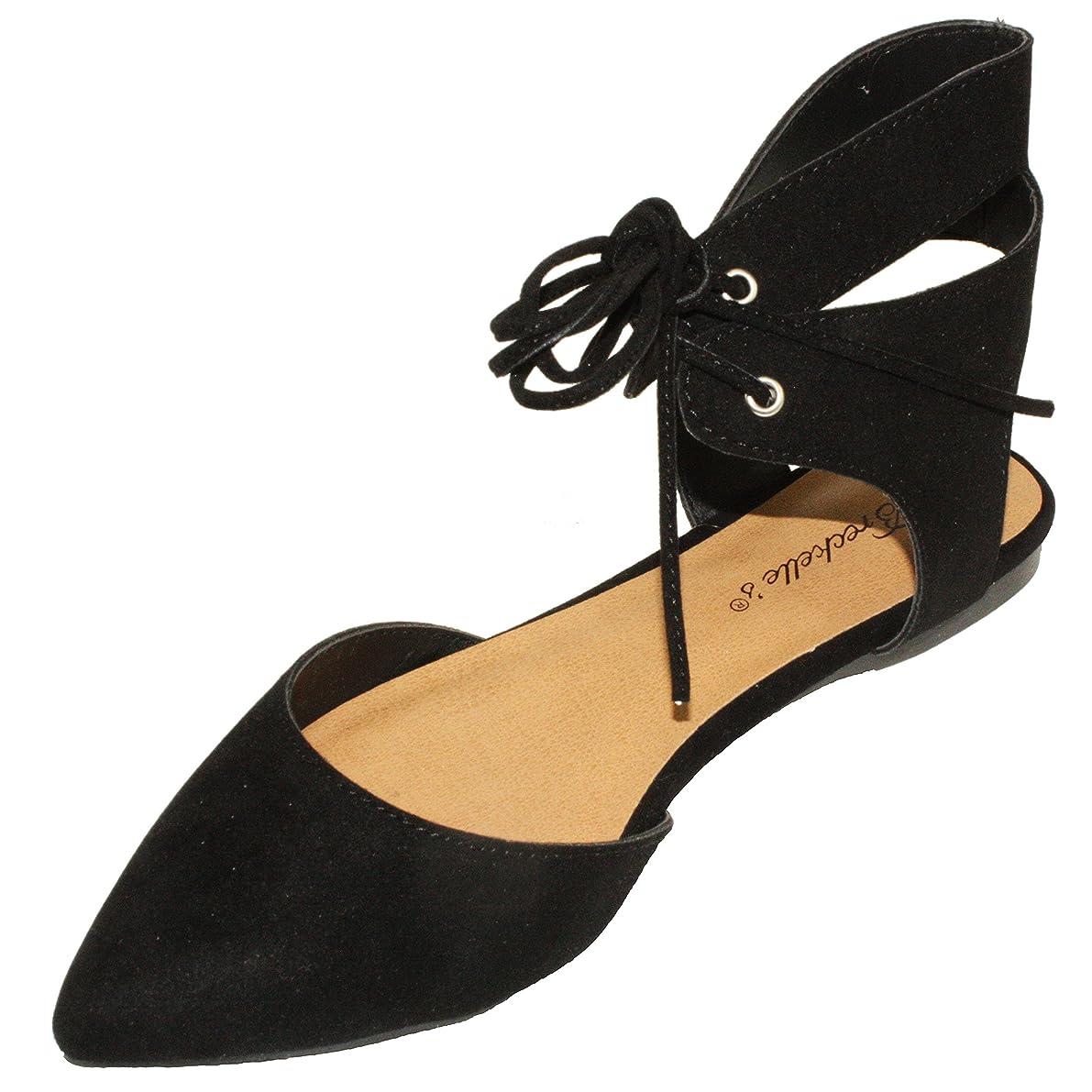 精算道免除するBreckelle 's Women 's deanna-01?Faux Suede Pointed Toe Ankle Wrap Lace Up Flats
