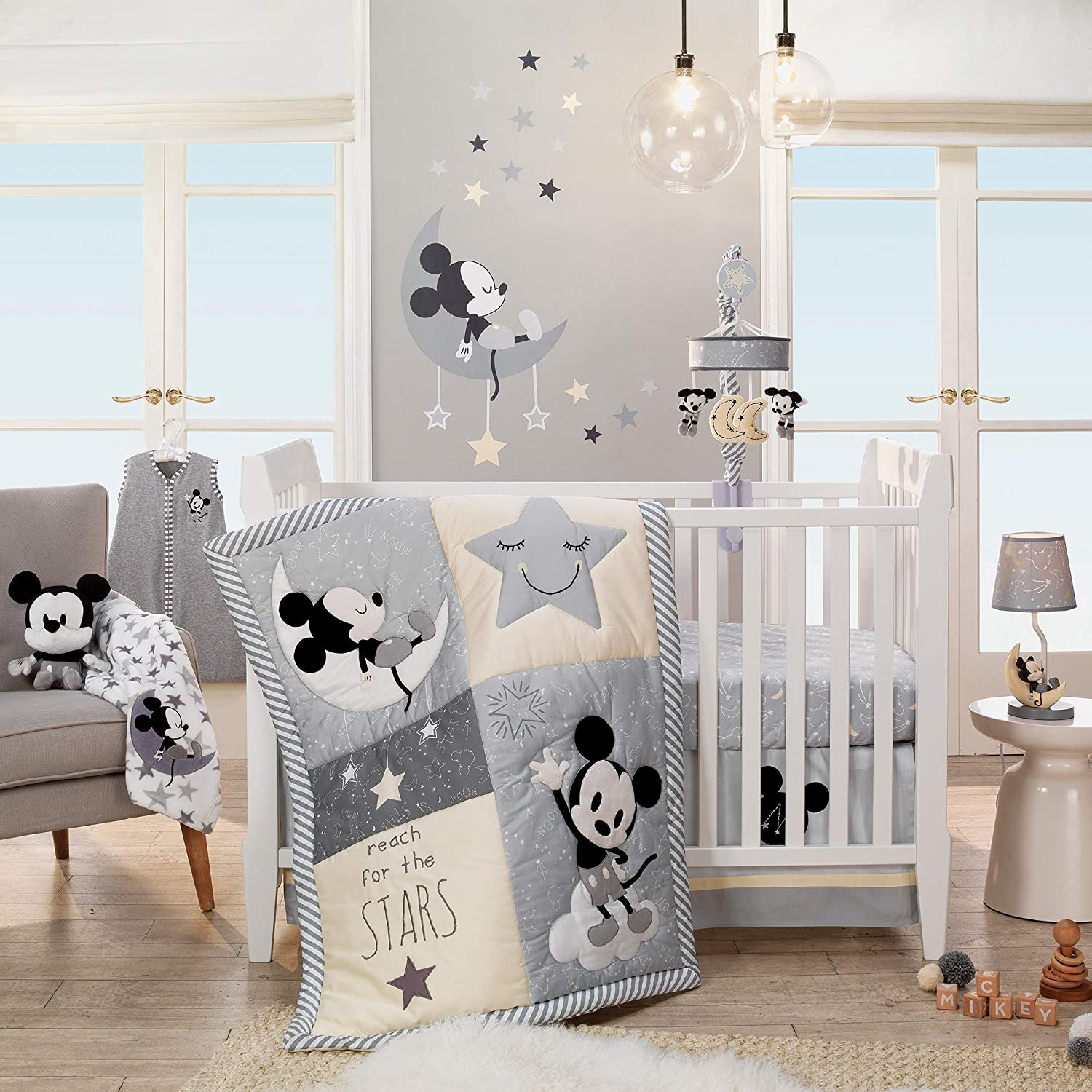 Lambs Ivy Mickey Mouse Quality inspection 4Piece Gray Set Colorado Springs Mall Bedding Crib