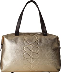Embossed Flower Stem Leather Zip Shopper