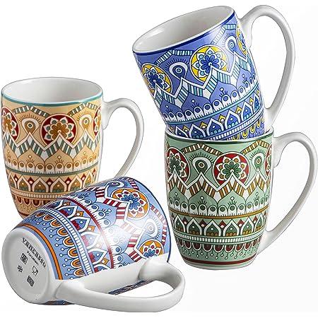 vancasso, Série Mandala, Tasses Mugs en Porcelaine, 4 Pièces 300ml, Ensemble de Tasse à Café Thé, Faïence Style Bohémien