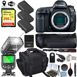 Canon EOS 5D Mark IV DSLR Camera Body Only Kit with 256GB Sandisk Memory, TTL Speedlight Flash (Good Up-to 180 Feet), Pro Power Grip + Holiday Special Bundle
