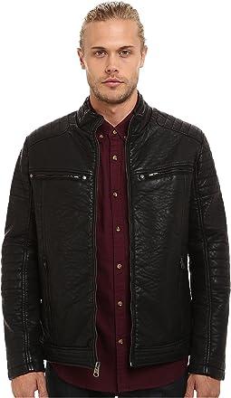 Zip Front Jacket w/ Faux Zipper Collar Detail