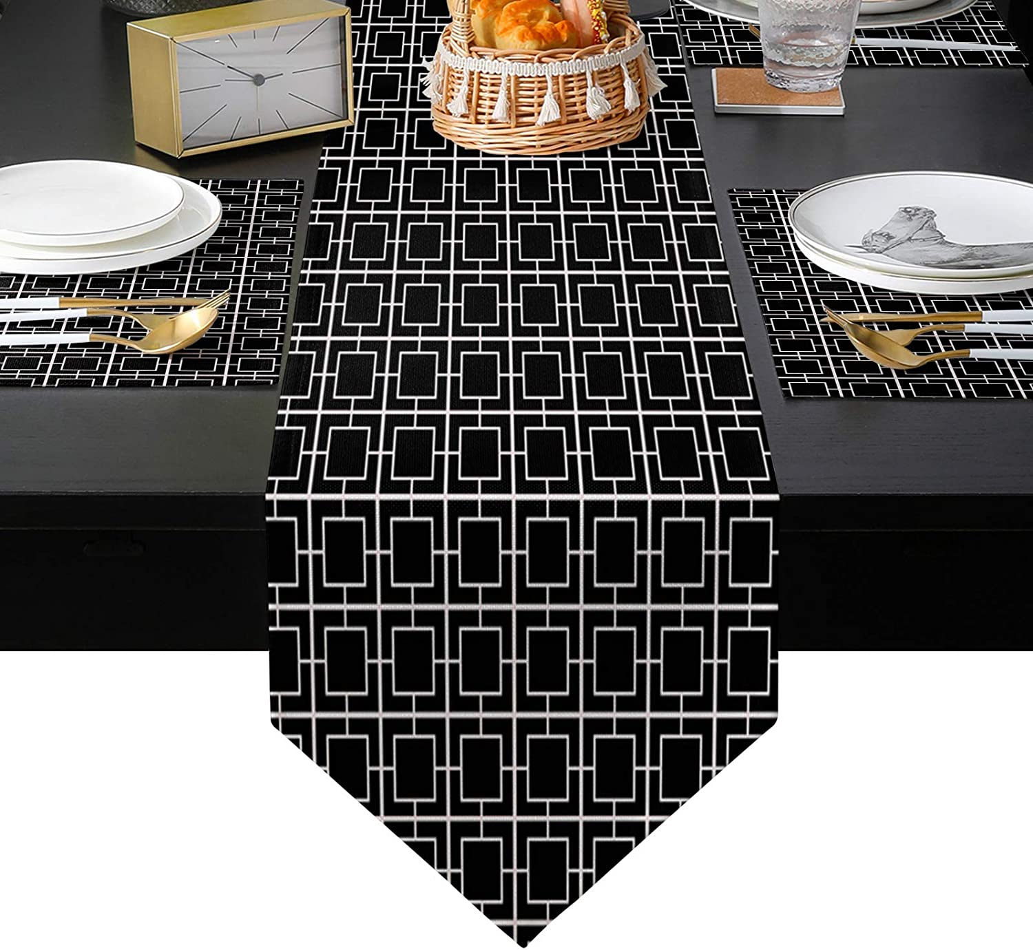 San Diego Mall ARTSHOWING Modern Geometric Kansas City Mall Table Runner and 6 of Placemats Set