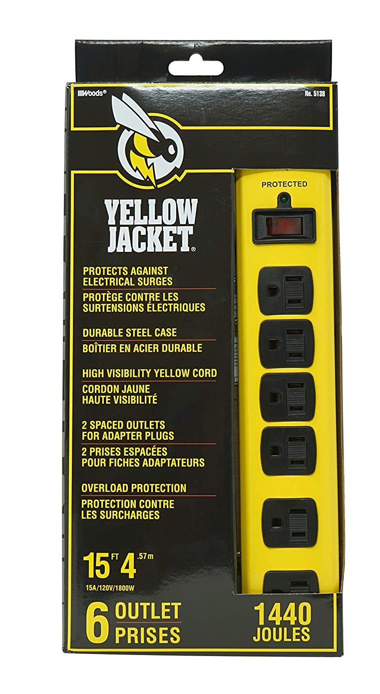 Yellow Jacket 5138N 5138 Metal Surge Protector Strip, 15-Foot Cord, 6-Outlet