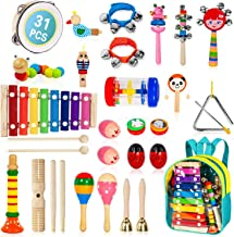 MAXZONE Kids Musical Instruments, 31Pcs 19 Types Wooden Instruments Tambourine Xylophone Toys for Kids Children, Preschool Educational Learning Musical Toys for Boys Girls with Backpack
