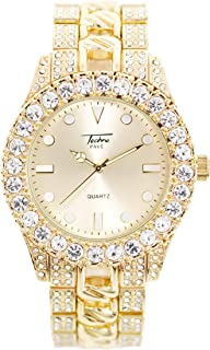 Mens 44mm Solitaire Bezel Gold Watch with Metal Band Strap (Resizable Links) - Quartz Movement