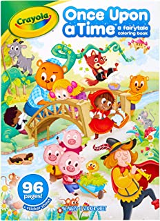 Crayola Fairy Tale Coloring Book with Stickers, 96 Coloring Pages, Gift for Kids, Ages 3, 4, 5, 6, Multi
