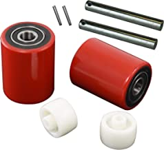 "Pallet Jack/Truck Load Wheels Full Set with Axles and Entry Exit Roller 3"" x 3.75"" with Bearings ID 20mm Poly Tread Red"