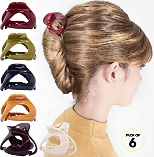 RC ROCHE ORNAMENT Womens Oval Hollow Curved Jaw Clamp Barrette Interlocking Teeth No Slip Grip Beauty Fashion Girls Classic Plastic Accessory Hair Clip, 6 Pack Count Medium Classic Multicolor