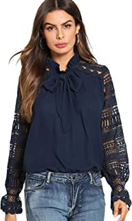 Women's Long Sleeve Bow Tie Ruffle Collar Lace Chiffon Blouse