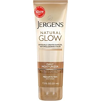 Jergens Natural Glow Sunless Tanning Lotion, Self Tanner, Medium to Tan Skin Tone, 7.5 Ounce Daily Moisturizer, featuring Antioxidants and Vitamin E
