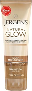 Jergens Natural Glow Sunless Tanning Lotion, Self Tanner, Medium to Tan Skin Tone, Daily Moisturizer, 7.5 Ounce, featuring...