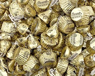 Hershey`s Candy Reese`s Miniatures Peanut Butter Cups Gold, Hershey`s Kisses Milk Chocolate Almond Gold Foil 2 Pound Bag (Approx. 140 pcs)