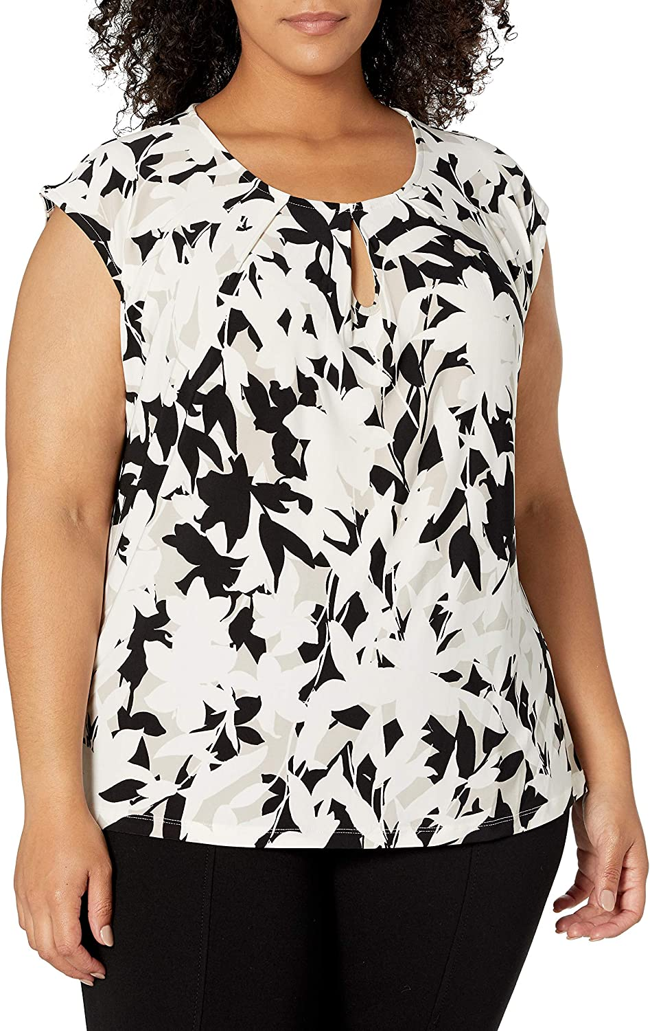 Kasper Women's Bold Floral Printed Keyhole Knit Cami with Cap Sleeve