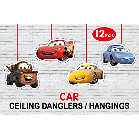 WoW Party Studio McQueen Car Theme Ceiling Hangings / Danglers for Birthday Party Decoration - 12 Pcs