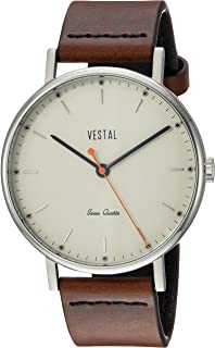 Vestal Sophisticate Stainless Steel Swiss-Quartz Watch with Leather Calfskin Strap, Brown, 20 (Model: SPH3L08)