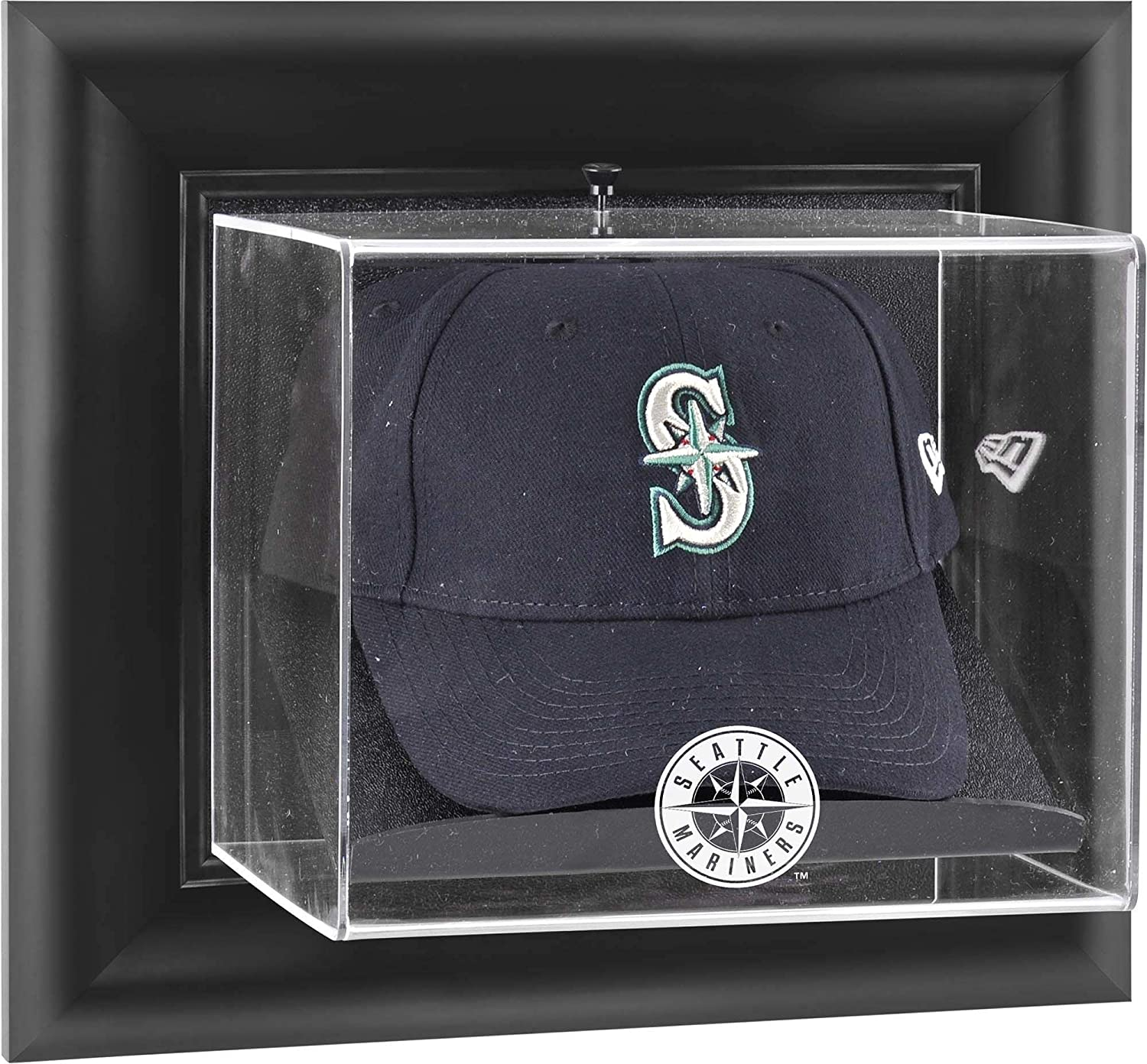 trend rank Selling Seattle Mariners Black Framed Wall-Mounted Display Logo Cap Case