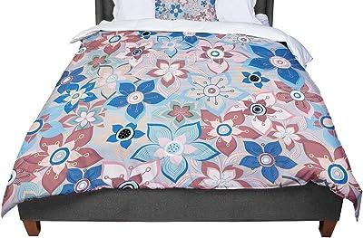 60 by 50 Kess InHouse Jolene Heckman Marsala Floral Mix Pink Blue Fleece Throw Blanket