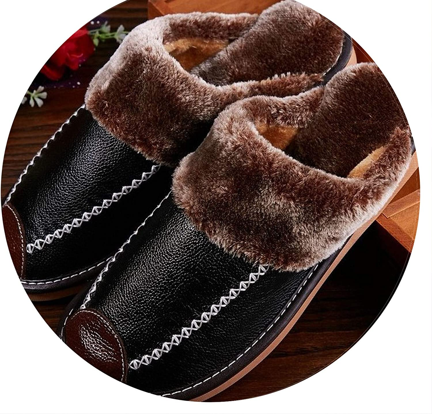 Men's Slippers Genuine Leather Home Indoor Non-Slip Thermal shoes Men 2019 New Warm Slippers