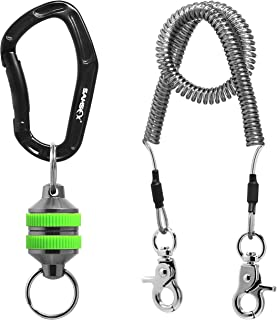 SAMSFX Fishing Strongest Magnetic Net Release Magnet Clip Holder Retractor with Coiled Lanyard