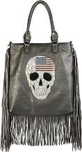 styleBREAKER handtas met USA-design schedel, zwart...