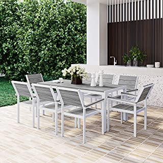 8 Seater Modern Outdoor Dining Set Weather-Resistant Garden Table and Chairs, White