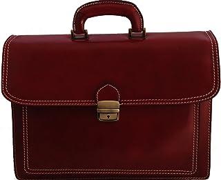 CTM Borsa da Lavoro Rosso Cartella Porta Documenti da Uomo, 41x31x18cm, Vera Pelle 100% Made in Italy