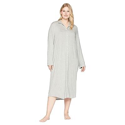 LAUREN Ralph Lauren Plus Size Long Sleeve Roll Tab Ballet Sleepshirt (Heather Grey) Women