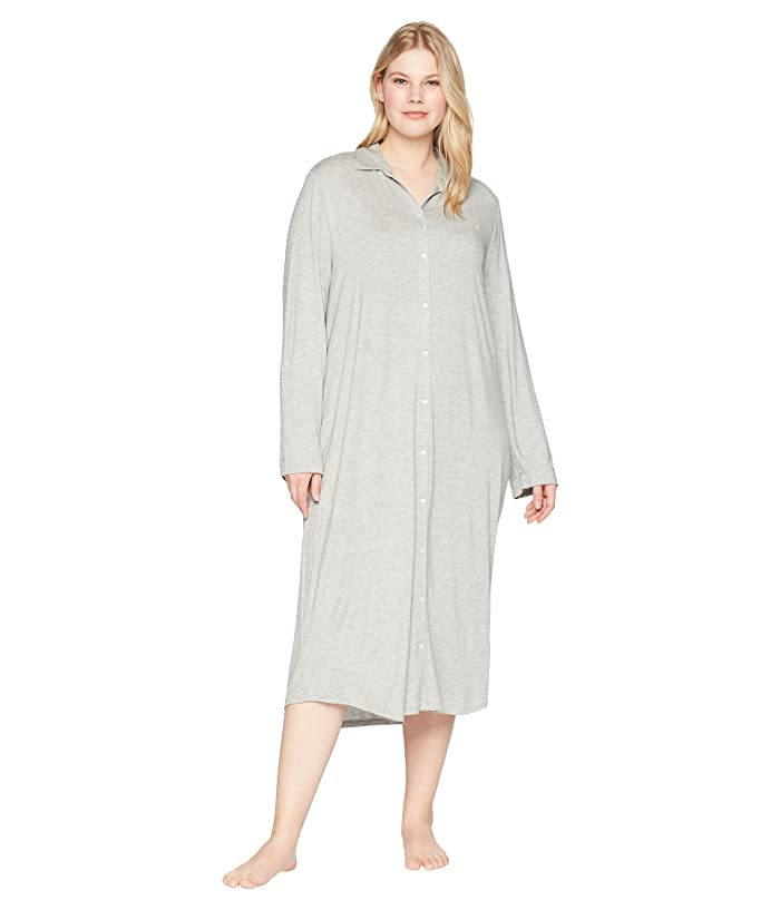 3353c07d47c87b LAUREN Ralph Lauren Plus Size Long Sleeve Roll Tab Ballet Sleepshirt ...