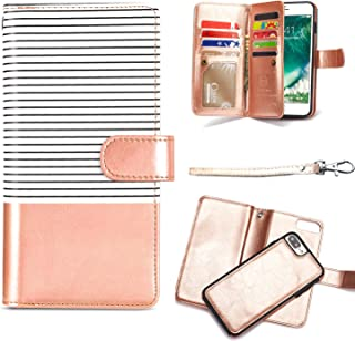 iPhone 8 Plus Wallet Case,iPhone 7 Plus Wallet Case,MISSCASE PU Leather [Card Holder] Wallet Case with Detachable SlimCase for iPhone 6 Plus / 7 Plus / 8 Plus,9 Card Slots,Lanyard White&Gold