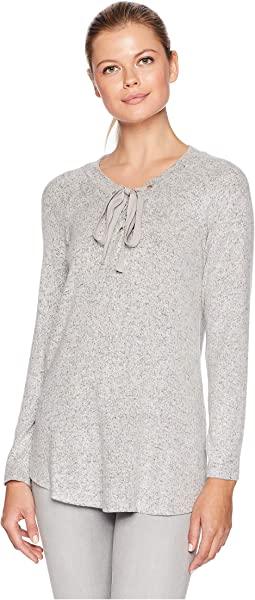 V-Neck Lace-Up Brushed Knit