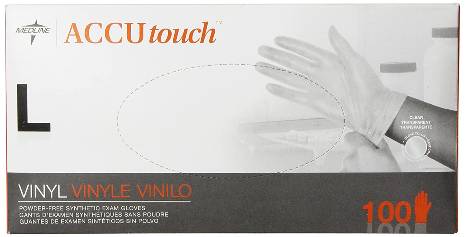 クモ息を切らして重要なMedline Accutouch Powder-Free, Latex-Free Synthetic Exam Gloves Clear, Large, 100 Count by Medline