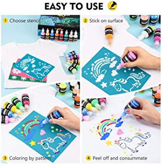 3D Fabric Paint, Magicfly 40 Colors Permanent Textile Paint with 3 Brushes and Stencils, Permanent Fabric Paint with ...