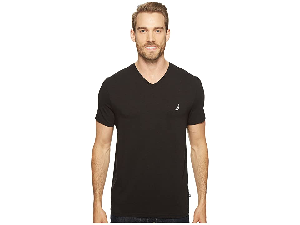 Nautica Slim Fit V-Neck T-Shirt (True Black) Men
