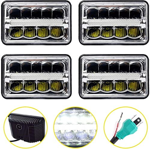 wholesale 4X6 Inch LED Sealed Beam Headlights Hi/Lo Beam DRL Headlamp Replace H4651 H4652 H4656 H4666 H4668 H6546 high quality For Truck outlet sale Kenworth Peterbilt FREIGHTLINER Western Star Ford Mustang Chevy, Pack of 4 outlet online sale