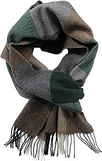 Rotfuchs® woven scarf men scarf winter scarf warm & soft wool check multicolour Made in Germany (30 x 185 cm, green gray b...