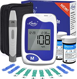 Diabetes Testing Kit - Lovia Blood Sugar Test Kit, 50 Glucometer Strips, Lancing Device, 50 Lancets and Carrying Case, Glucose Meter Kit with Strips and Lancets, No Coding
