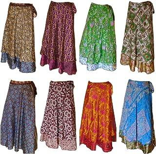 Pack of 3 Assorted Plus Size Women's Long Length Reversible Sari Art Silk Wrap Skirts L36inch