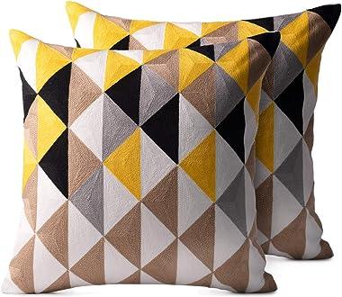 OSVINO Lot de 2 Housse Coussin Microfibre Ecologique Doux Toucher Broderie Géométrique Canapé Elégance Throw Pillow Covers Zi