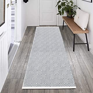 HEBE Extra Long Cotton Area Rug Runner 2'x6' Reversible Hand Woven Cotton Throw Rug Floor Mat Carpet Runner for Kitchen Be...