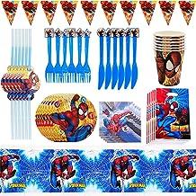 Nesloonp Ensemble Vaisselle Fête, Ensemble de Vaisselle de Fête Spiderman 48 Pièces - Pour Anniversaire DA'enfant - Décora...