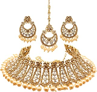 Bindhani Women's Indian Jewelry Heavy Look Bridal Wedding Party Wear Crafted Brides Fashion Gold Plated Kundan Choker Neck...