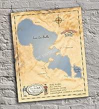 Lac La Belle - Wisconsin - Vintage-Inspired Lake Map Print Poster, Unframed 11