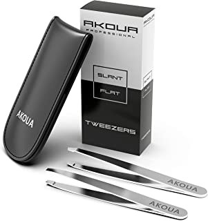 Tweezers for Eyebrows Professional Set - Durable Hypoallergenic Stainless Steel Ergonomic Grip Tweezers for Eyebrows Pointed Tips & Flat for Plucking, Trimming, Precision Shaping 2 PCS Set