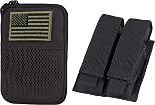CONDOR Pocket Pouch with US Flag Patch Black Double Pistol Mag Pouch