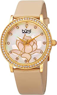 Swarovski Crystal Encrusted Watch - On Genuine Leather Strap –Mother of Pearl Dial with Mosaic Lotus Flower Design and Crystal Marker Accents – BUR159