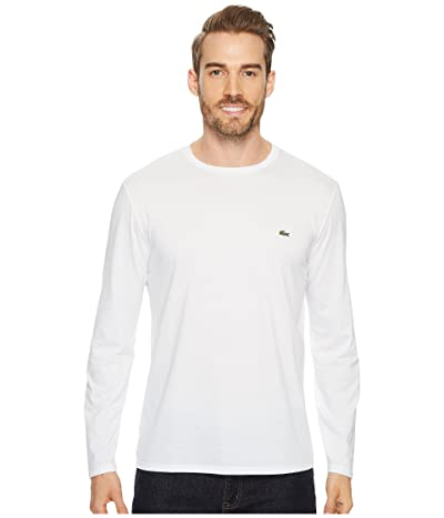 Lacoste Long Sleeve Pima Jersey Crew Neck T-Shirt (White) Men