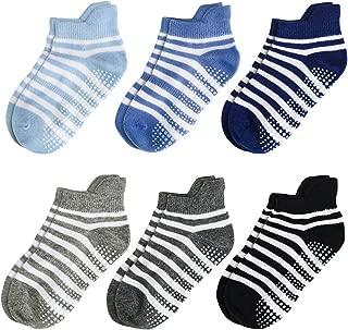 Aminson Grip Ankle Socks - Kids Boys Girls Anti Non Skid Slip Slipper Crew Socks-6/12 Pairs